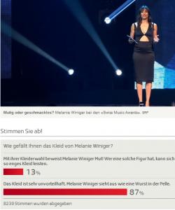 """Melanie Winiger als """"Wurst in der Pelle"""" (Bildschirmfotoausriß: Schweizer Staatsfernsehen)"""