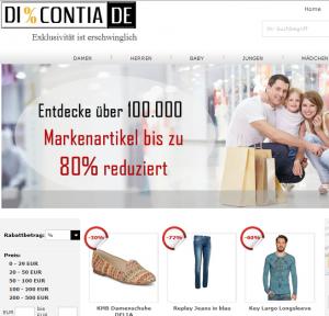 Bie Markenkleidern läßt sich viel Geld sparen (Bildschirmfotoausriß: Discontia.de)
