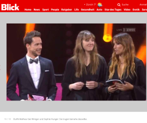 Bildschirmfotoausriß: Melanie Winiger mit Sophie Hunger im Paarstil bei den Schweizer Musikpreisen 2016. Sicher keine Absicht.