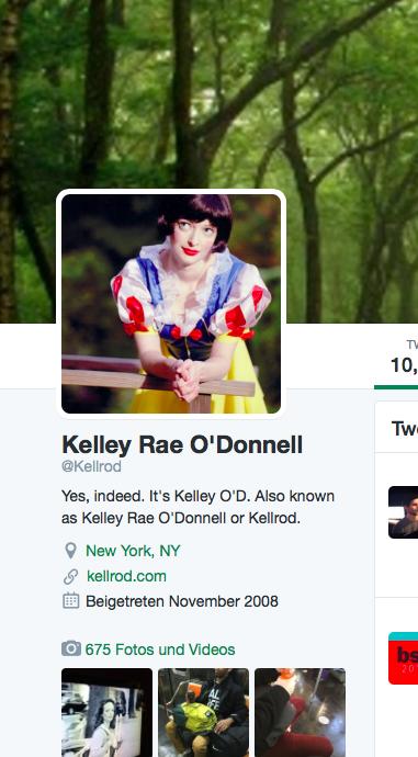 Die Schauspielerein Kelley Rae O´Donnell präsentiert die Exhibitionisten auf ihrem Twitter-Profil (Fotoausriß: Twitter)