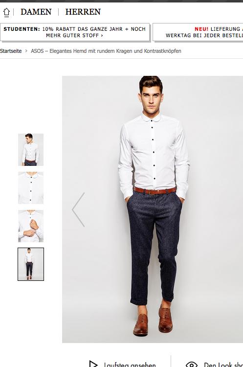 Männerhemd mit rundem Kragen / Bildausriß: Asos