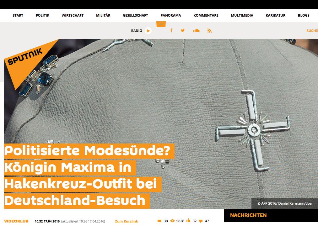 Königin Maxima sorgt unfreiwillig für Wirbel (Bildschirmfotoausriß: Sputnik Deutschland)
