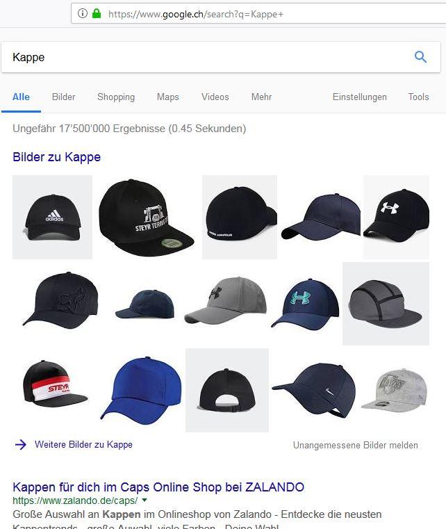 Kappen von der Stange und wenig individuell, dafür teuer.... (Bildschirmfotoausriß: Google-Suche)