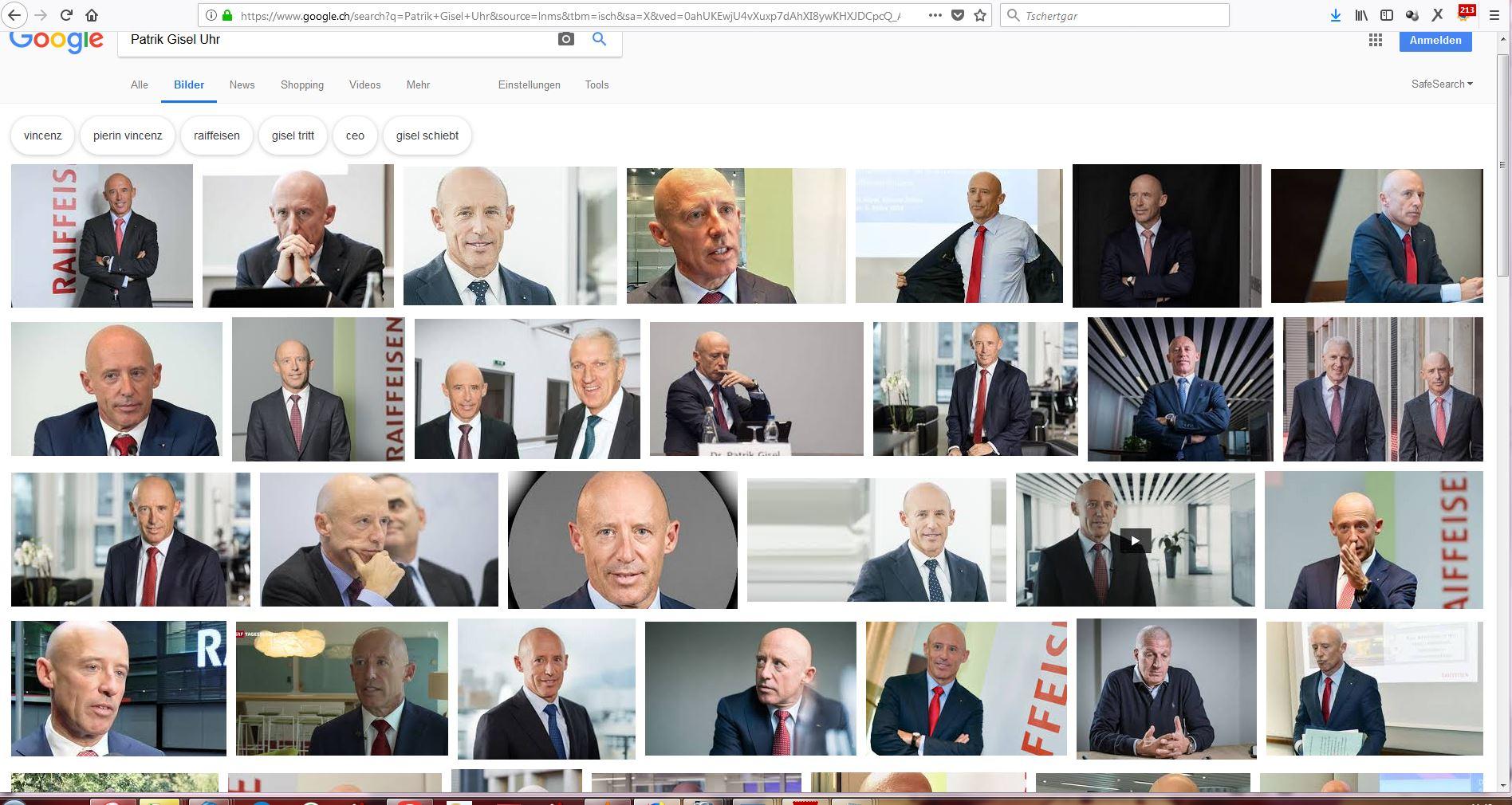 """Wer Patrik Gisel """"guhgelt"""" in der Bildersuche, sieht ihn oft, wie er seine Uhr präsentiert. Zufall oder nicht? (Bildschirmfotoausriß: Google-Bildersuche)"""