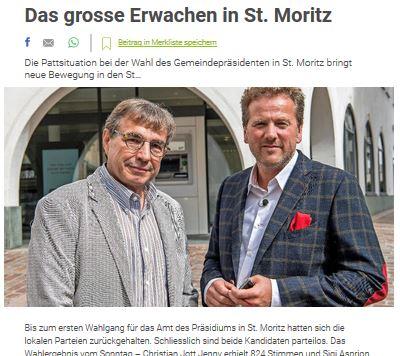 Bildschirmfotoausriß: Bericht in der Südostschweiz zur Kampfwahl zwischen dem biederen Aspiron und dem modebewußten Jenny