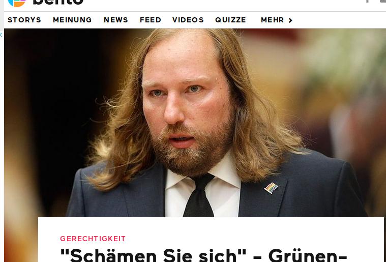 Grünen-Politiker Anton Hofreiter: Doppelkinn wird nur durch Bart verdeckt - Grüne Ernährung sieht anders aus (Bildschirmfotoausriß; Bento)