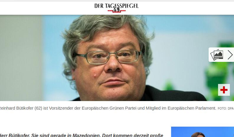 Der Grünen-Chef im Europaparlament der EU, Bütikofer (Bildschirmfotoausriß: Tagesspiegel DE)
