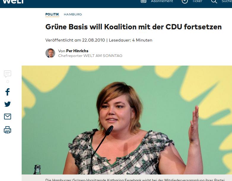 Katharina Fegebank, Grüne Hamburg, war schon 2010 stark übergewichtig (Fotoausriß: Weltartikel aus dem Jahr 2010)
